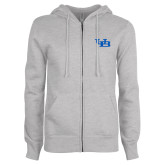 ENZA Ladies Grey Fleece Full Zip Hoodie-Interlocking UB