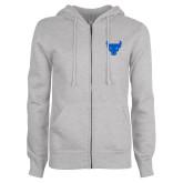 ENZA Ladies Grey Fleece Full Zip Hoodie-Bull Spirit Mark