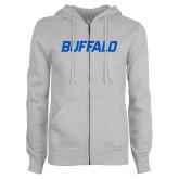 ENZA Ladies Grey Fleece Full Zip Hoodie-Buffalo Word Mark