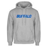 Grey Fleece Hoodie-Buffalo Word Mark