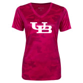 Ladies Pink Raspberry Camohex Performance Tee-Interlocking UB