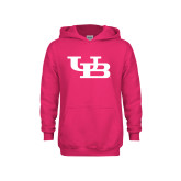 Youth Raspberry Fleece Hoodie-Interlocking UB