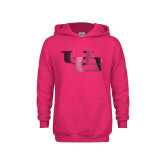 Youth Raspberry Fleece Hoodie-Interlocking UB Foil