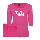 Ladies Dark Fuchsia Heather Tri Blend Lace 3/4 Sleeve Tee-Interlocking UB