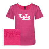 Ladies Dark Fuchsia Heather Tri-Blend Lace Tee-Interlocking UB