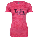 Next Level Ladies Junior Fit Fuchsia Burnout Tee-Interlocking UB Foil