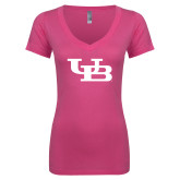 Next Level Ladies Junior Fit Deep V Pink Tee-Interlocking UB