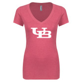 Next Level Ladies Vintage Pink Tri Blend V-Neck Tee-Interlocking UB