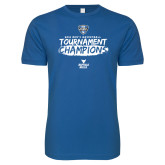 Next Level SoftStyle Royal T Shirt-2018 Mens Basketball Champions - Brush