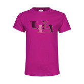 Youth Fuchsia T Shirt-Interlocking UB Foil