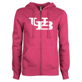 ENZA Ladies Fuchsia Fleece Full Zip Hoodie-Interlocking UB