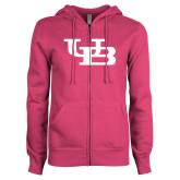 ENZA Ladies Fuchsia Fleece Full Zip Hoodie-Interlocking UB