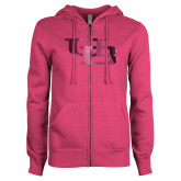 ENZA Ladies Fuchsia Fleece Full Zip Hoodie-Interlocking UB Foil