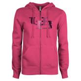 ENZA Ladies Fuchsia Fleece Full Zip Hoodie-Interlocking UB Foil