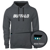 Contemporary Sofspun Charcoal Heather Hoodie-Buffalo Word Mark