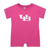 Bubble Gum Pink Infant Romper-Interlocking UB