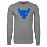 Grey Long Sleeve T Shirt-Bull Spirit Mark
