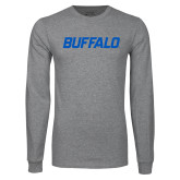 Grey Long Sleeve T Shirt-Buffalo Word Mark