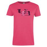 Ladies Fuchsia T Shirt-Interlocking UB Foil