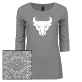 Ladies Grey Heather Tri Blend Lace 3/4 Sleeve Tee-Bull Spirit Mark