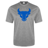 Performance Grey Heather Contender Tee-Bull Spirit Mark