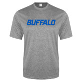 Performance Grey Heather Contender Tee-Buffalo Word Mark
