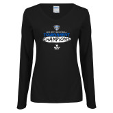 Ladies Black Long Sleeve V Neck T Shirt-2018 Mens Basketball Champions - Brush