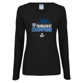 Ladies Black Long Sleeve V Neck T Shirt-2018 Mens Basketball Champions - Stacked