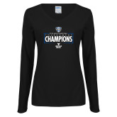 Ladies Black Long Sleeve V Neck T Shirt-2018 Mens Basketball Champions - Box