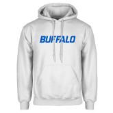 White Fleece Hoodie-Buffalo Word Mark