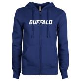 ENZA Ladies Royal Fleece Full Zip Hoodie-Buffalo Word Mark