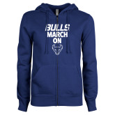 ENZA Ladies Royal Fleece Full Zip Hoodie-Bulls March On