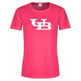 Ladies Performance Hot Pink Tee-Interlocking UB