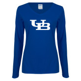 Ladies Royal Long Sleeve V Neck Tee-Interlocking UB