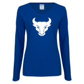 Ladies Royal Long Sleeve V Neck Tee-Bull Spirit Mark