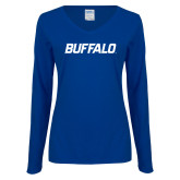 Ladies Royal Long Sleeve V Neck Tee-Buffalo Word Mark