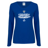 Ladies Royal Long Sleeve V Neck T Shirt-2018 Mens Basketball Champions - Brush