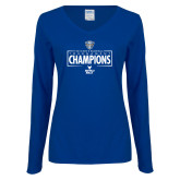 Ladies Royal Long Sleeve V Neck T Shirt-2018 Mens Basketball Champions - Box