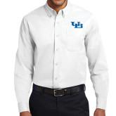 White Twill Button Down Long Sleeve-Interlocking UB