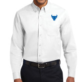 White Twill Button Down Long Sleeve-Bull Spirit Mark