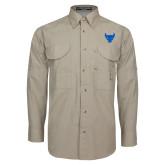 Khaki Long Sleeve Performance Fishing Shirt-Bull Spirit Mark