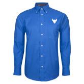 Mens Royal Oxford Long Sleeve Shirt-Bull Spirit Mark