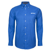 Mens Royal Oxford Long Sleeve Shirt-Buffalo Word Mark