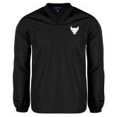 V Neck Black Raglan Windshirt-Bull Spirit Mark