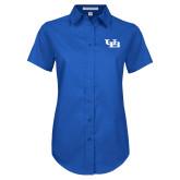 Ladies Royal Twill Button Up Short Sleeve-Interlocking UB