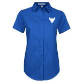 Ladies Royal Twill Button Up Short Sleeve-Bull Spirit Mark