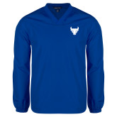 V Neck Royal Raglan Windshirt-Bull Spirit Mark