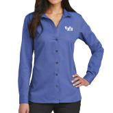 Ladies Red House French Blue Long Sleeve Shirt-Interlocking UB