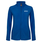 Ladies Fleece Full Zip Royal Jacket-Buffalo Word Mark