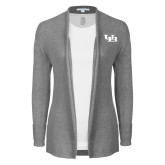 Ladies Heather Grey Open Front Cardigan-Interlocking UB